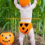 Pumpkin Hat and Diaper Cover Croche..