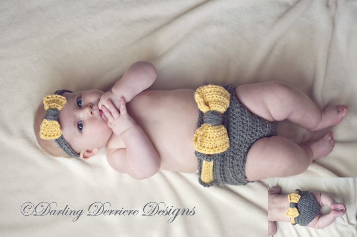 Bow Headband and Diaper Cover Crochet Pattern