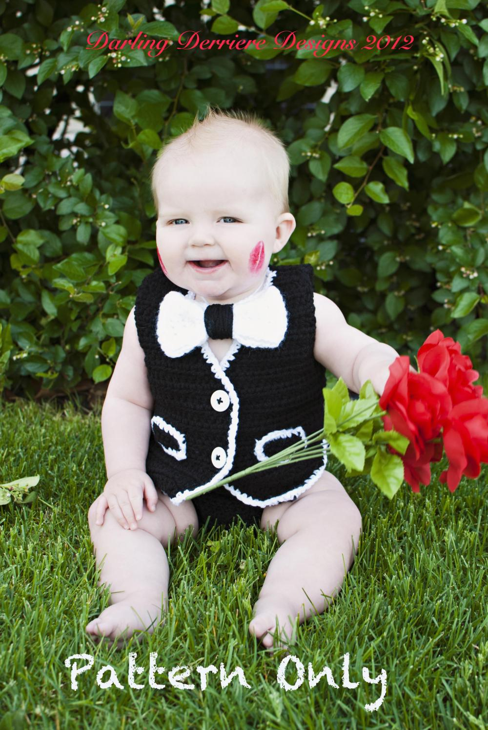 Vest, Bowtie, AND Diaper Cover Crochet Pattern