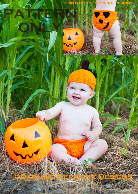 Pumpkin Hat and Diaper Cover Crochet Pattern