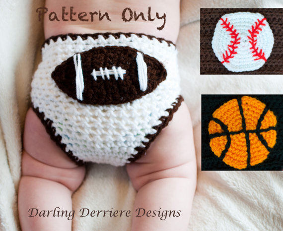 Sports Diaper Cover With Baseball Basketball And Football Crochet