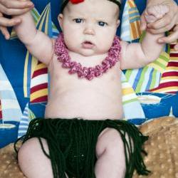 Hula Skirt, Lei, and Flower Headband Diaper Cover Crochet Pattern