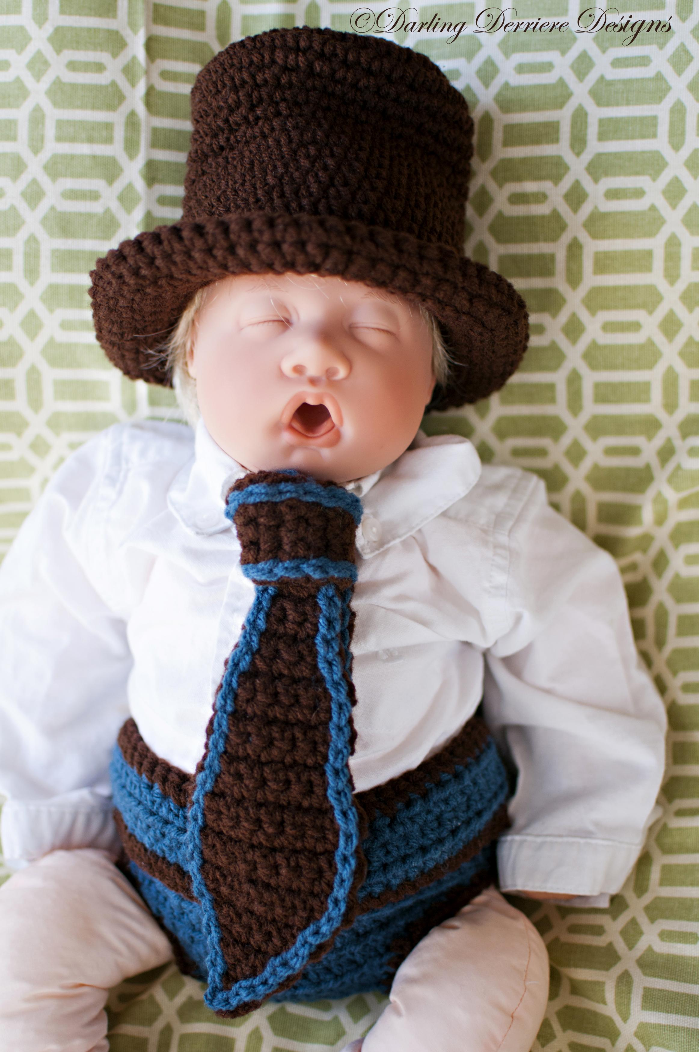 Top Hat, Tie, And Button Strap Diaper Cover Crochet Pattern on Luulla